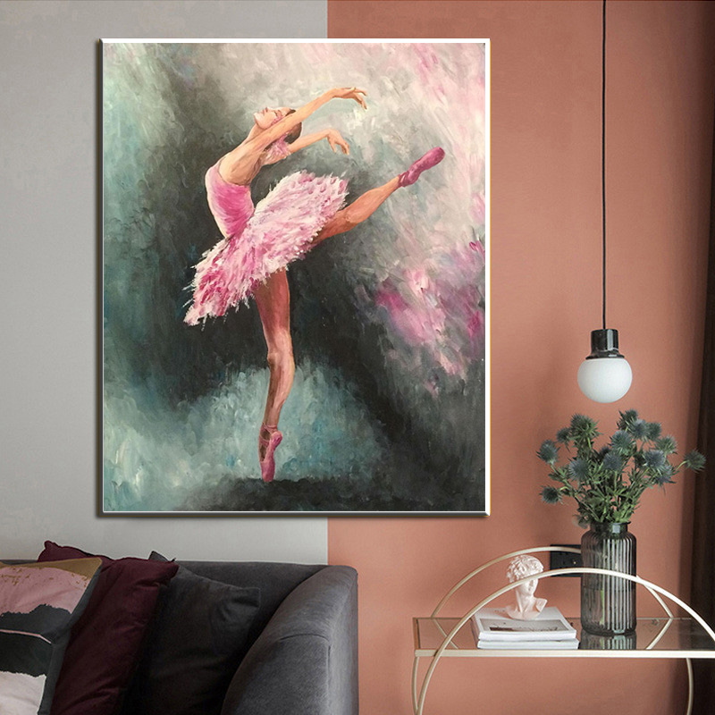 Abstract Ballerina Portrait Oil Painting on Canvas Art Posters and Prints Scandinavian Canvas Art Wall Picture for Living Room(China)