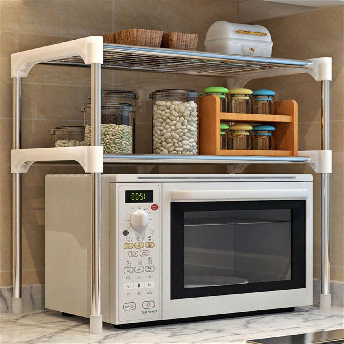 2-Tier 304 Stainless Steel Microwave Oven Rack Organizer Kitchen Rack Multifunctional Storage Shelf Bathroom Shelf Book Shelf
