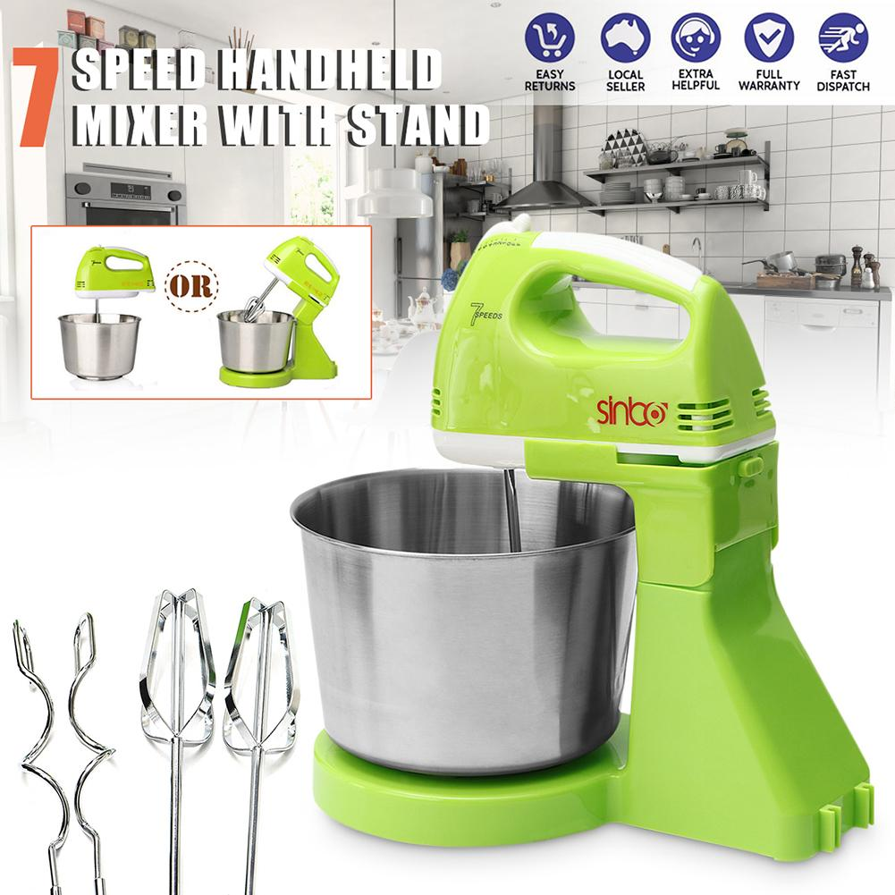EU Plug 7 Speed Electric Food Cake Egg Dough Blender Handheld Stand Mixer Home Kitchen Flour Egg Beater Gadget With 1.7L Bowl