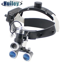 Dental Loupe Medical Surgical Bincoular Magnifier with Headlight Surgery Operation 2.5X/3.5X Galileo Suitable Wearing Glasses