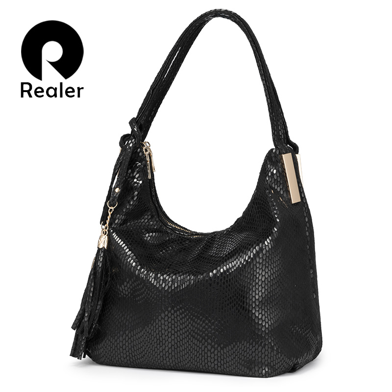 REALER Women Shoulder Bag Female Large Hobos Bag Luxury Handbag With Top-handle For Ladies Artificial Leather Tote Bag Tassel
