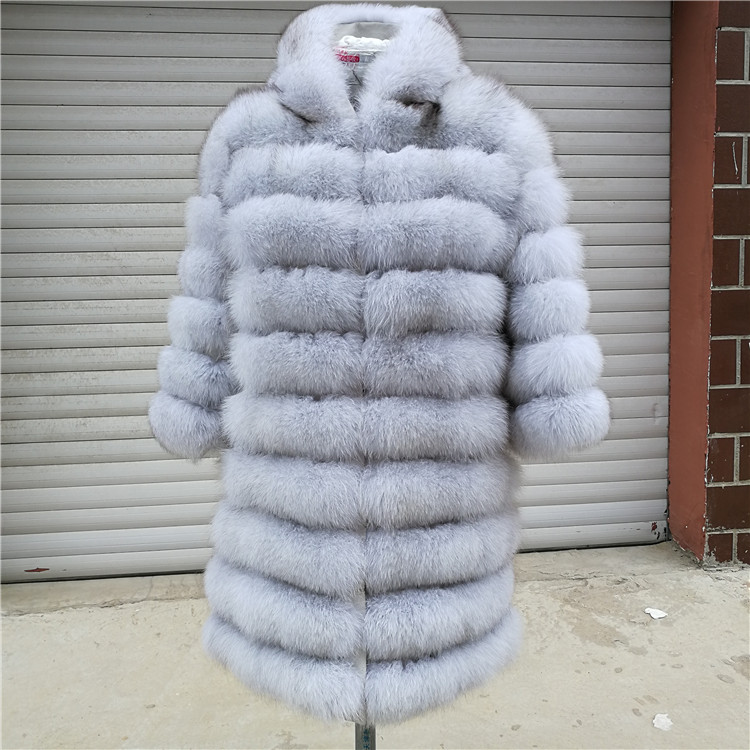 100% Natural Real Fox Fur Coat Women Winter Genuine Vest Waistcoat Thick Warm Long Jacket With Sleeve Outwear Overcoat plus size 111