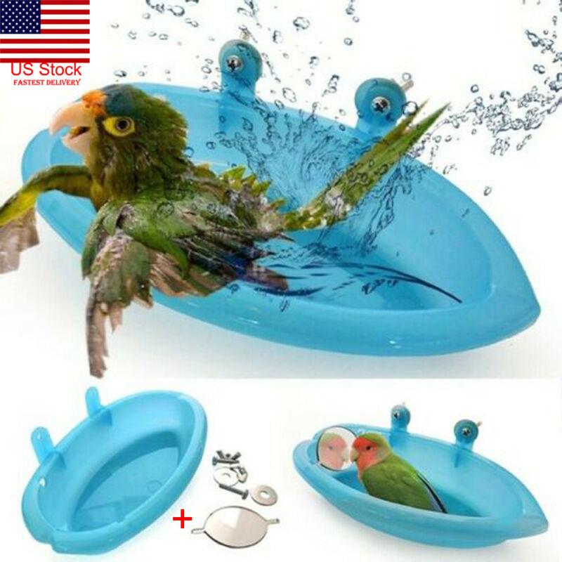 Bird Bathtub With Bird Mirror Small Oval Bird Bathtub Pet Cage Accessories Parrot Bath Shower Bathing Supplies Standing Box