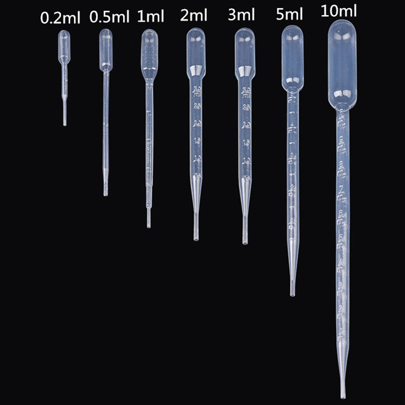 10 Pieces 0.2 / 0.5 / 1/2/3/5 / 10ML Laboratory Pipette Plastic Disposable Graduated Container Liquid Dropper Equipment Straw