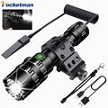 65000 Lumen LED Tactische Zaklamp Ultra Bright USB Oplaadbare Waterdichte Scout licht Fakkel Jacht licht 5 Modi door 1*18650
