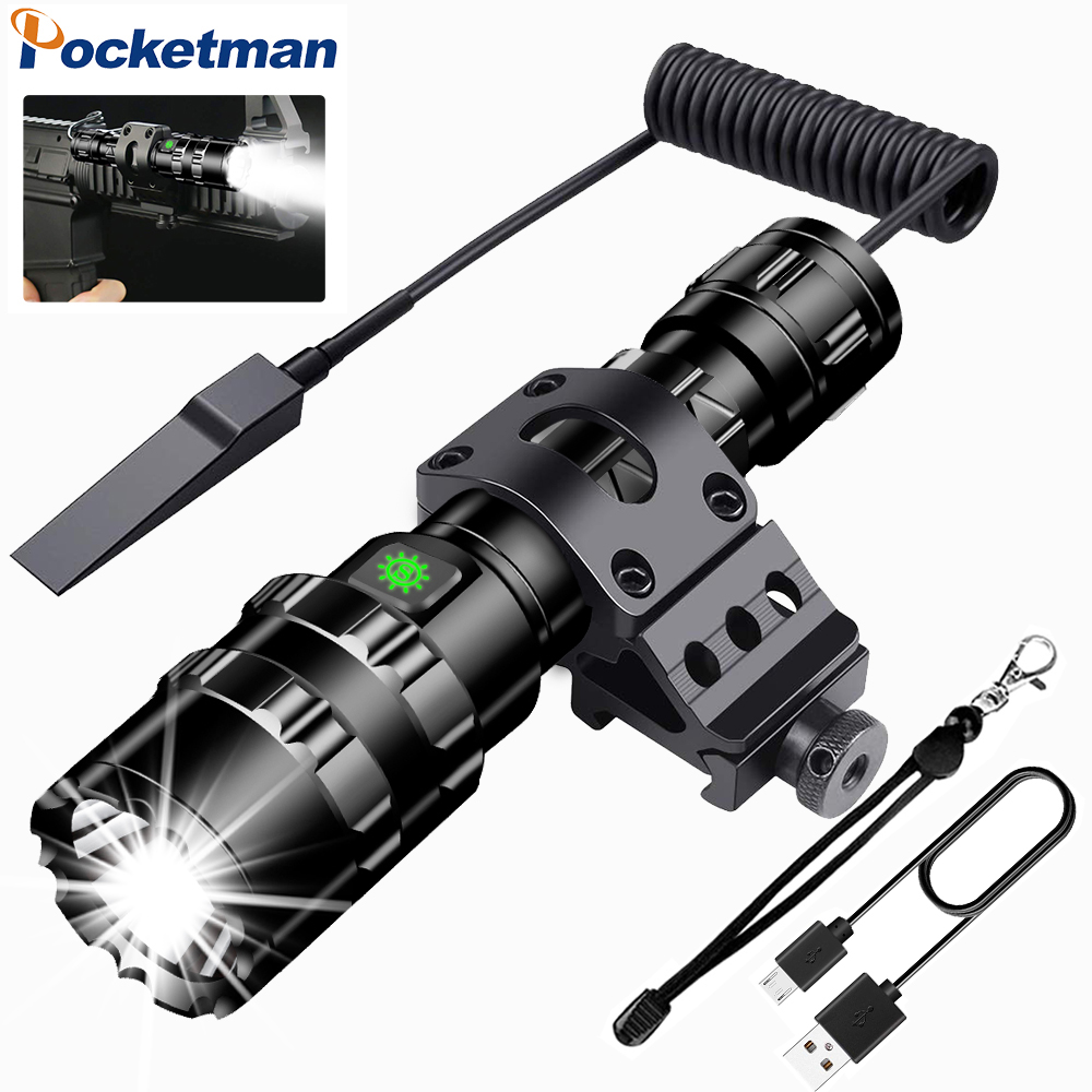 Ultra Bright LED Tactical Flashlight Ultra Bright USB Rechargeable Waterproof Scout Light Torch Hunting Light 5 Modes By 1*18650