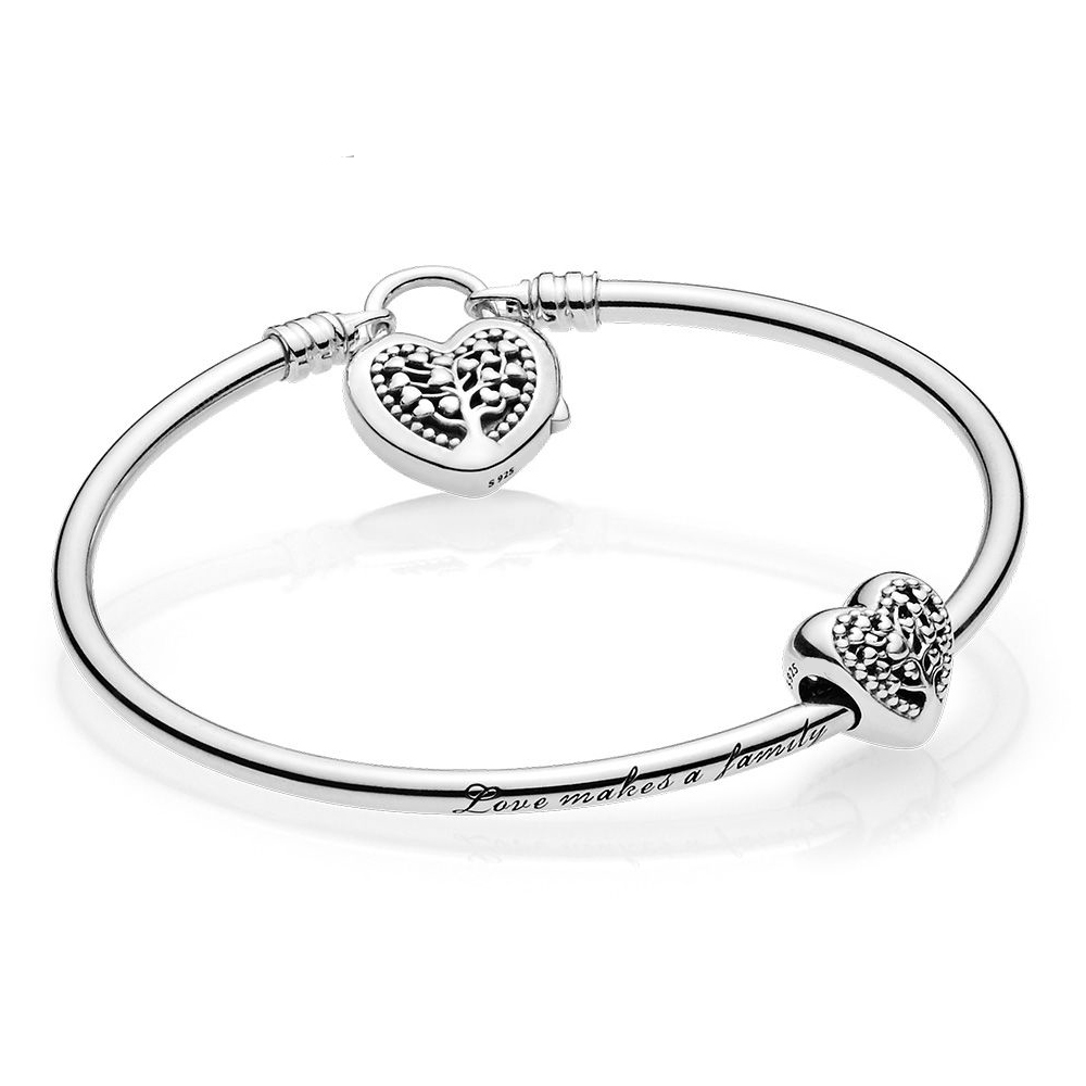 NEW 100% <font><b>925</b></font> sterling silver 1:1 Genuine Charm Life Tree Love Signature <font><b>Bracelet</b></font> Set Fit DIY Gift Women Original Jewelry <font><b>Pan</b></font> image