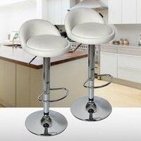 Set Of 2 Adjustable Pub Bar Stools Swivel Leather Counter Kitchen Dining Seat