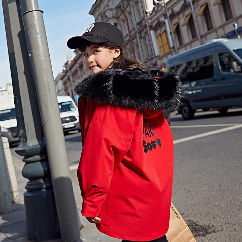 Children down coats real fur collar thicker warm hooded outerwear letter print Girls parka modis kids winter down jackets Y2364