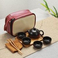 Portable Ceramic Teacup Set Vintage Kungfu Tea Mug Pot Tray with Storage Bag for Travel HKS99|Teegeschirr-Sets|Heim und Garten -