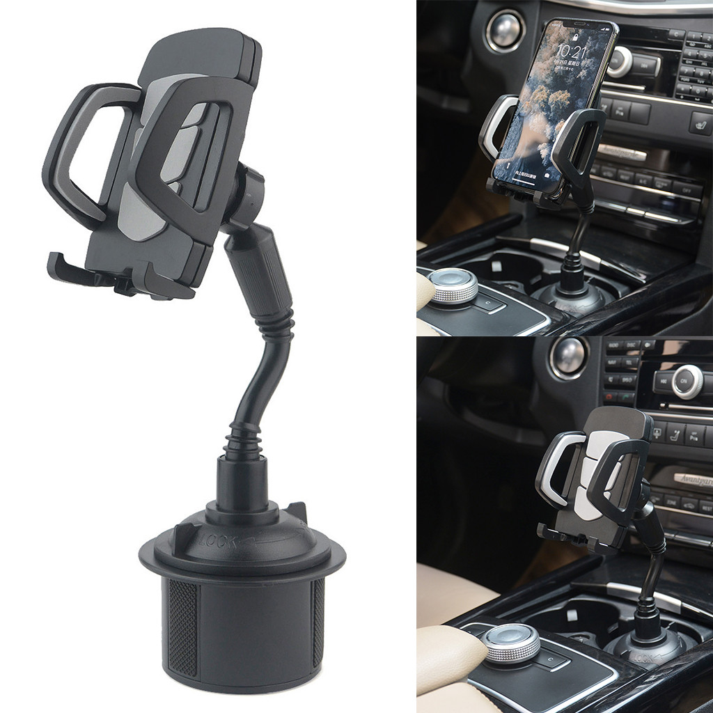 Adjustable Longer Neck Car/Truck Cup Holder Phone Mount with 360 Rotatable Cradle for iPhone,Samsung Smartphones, MP3 and GPS image