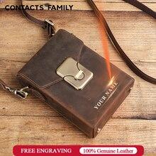 CONTACTS FAMILY – sac à bandoulière Vintage pour hommes, pochette en cuir véritable pour téléphone portable, sac à main à loquet, étui à cigarettes