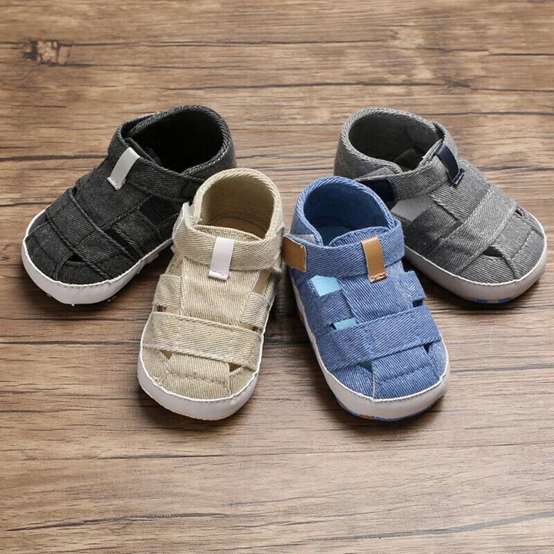 For Newborn Baby Boys Fashion Summer Soft Crib Shoes First Walker Anti Slip Sandals Shoe