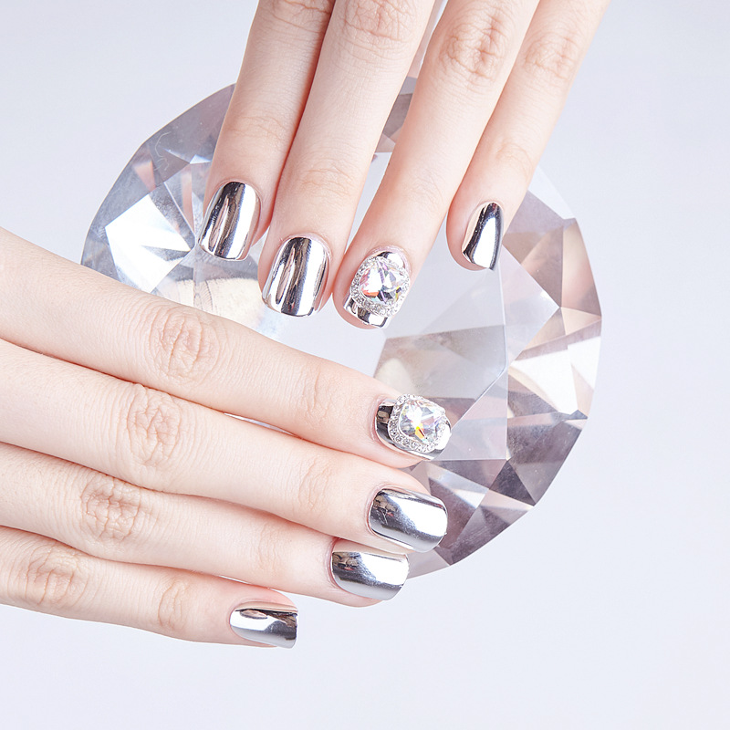 430-Silver Gemstone Bride INS Northern European-Style Europe And America Always Pick With Wear Manicure Fake Nails Stickers