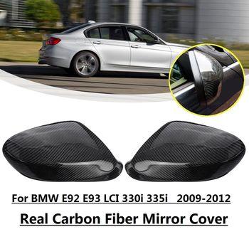 Cubierta de espejo retrovisor de fibra de carbono para BMW E92 E93 LCI 330i 325i 328i 335i 2009-2012 carcasa pegatina de ajuste espejo estilo