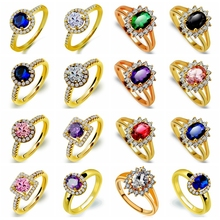 Wholesale Fashion Charming Nice Women Party Jewelry Round Crystal CZ Gold Color Wedding Ring Size 6 7 8 9 10 Jewelry Gifts