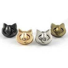 купить 1pcs Metal Cute Cat Bag Turn Lock Twist Lock Clasp Leather Craft Women Bag Handbag Shoulder Bag Purse DIY Hardware дешево