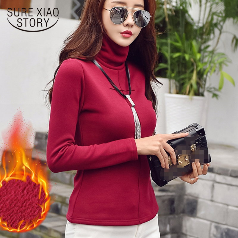 Plus Size S-3XL Autumn Winter Tshirt Thick Turtleneck T Shirt Women Long Sleeve Fleece Cotton Tops Bottoming Mujer Tees 7858 50