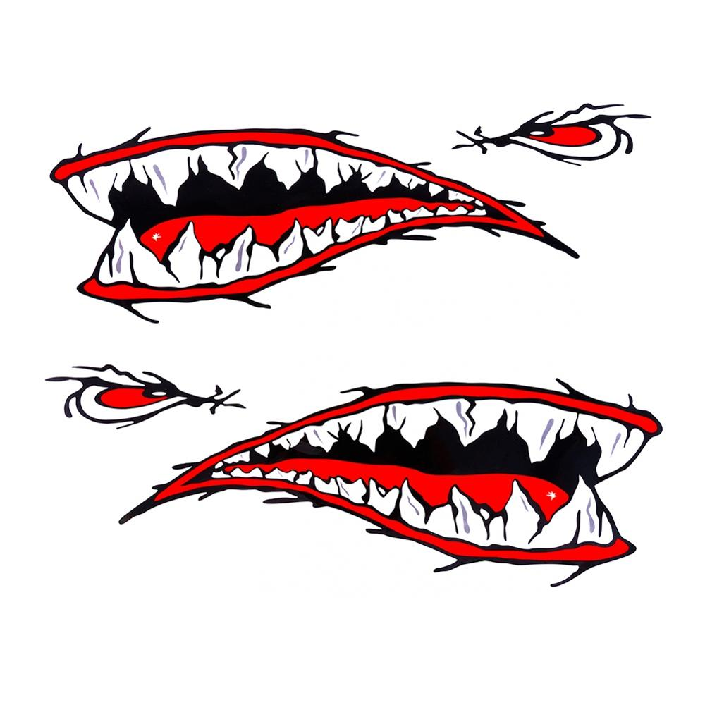 2PCS Waterproof DIY Funny Rowing Kayak Rowing Boat Shark Teeth Accessories Mouth Sticker Vinyl Decal Sticker For Label
