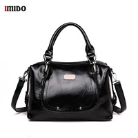 Black Oil PU Leather Satchel Handbag Women Brand Luxury 2019 Vintage Rivets Crossbody Bag for Women Lady Large Office Tote Purse