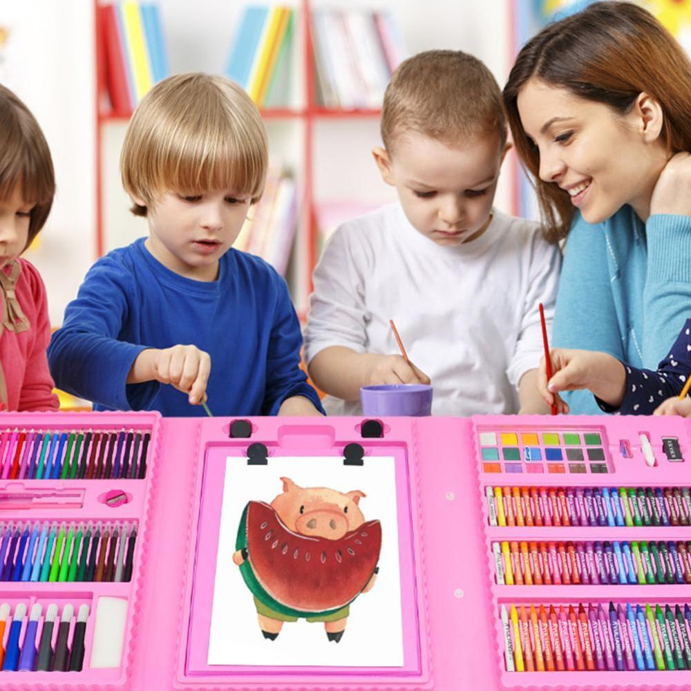 208pcs Kids Gift Creative Painting Graffiti Paint Brush Set Fashion Children Daily Entertainment Toy Art Sets With Easel