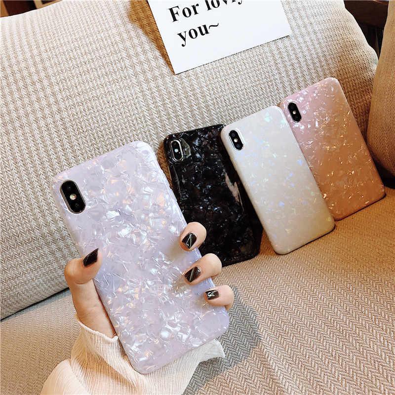 Glossy Marmer Case untuk iPhone 6 7 8 Plus X XS Max XR 11 11Pro Max Bling Conch Shell Epoxy Silikon Glitter lembut TPU Cover Capa