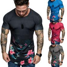 Мужская футболка с цветочным принтом летняя Приталенная коротким