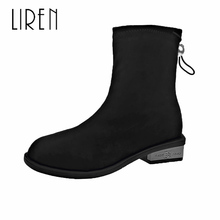 Liren 2019 Autumn Women Fashion Sexy Ankle Slip-on Boots Stretch Fabric Microfiber Round Toe Comfortable Lady
