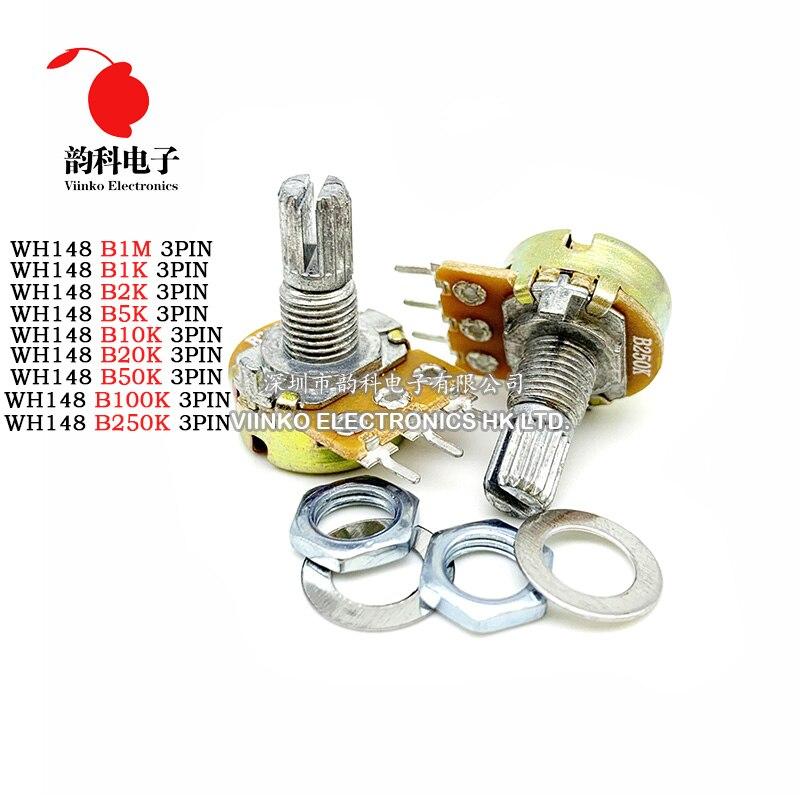 5pcs WH148 B1K B2K B5K B10K B20K B50K B100K B500K 3Pin 15mm Amplificador Dupla Stereo Potenciômetros Do Eixo 50 10 5 2 1K K K K K 100K 500K