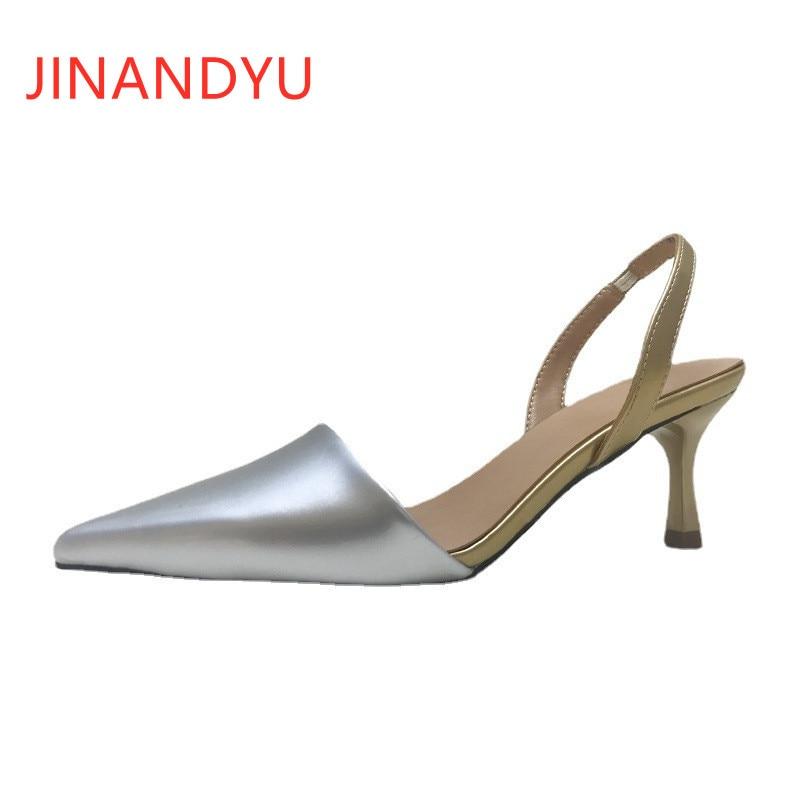 High Heels Silver Pointed Toe Sandals Classy Heels Women Slippers Summer Ladies Leather Sandals High Heel Elegant Fashion
