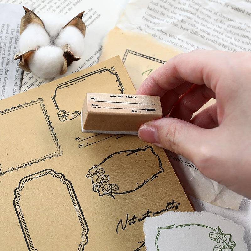 Classic Label Series Wooden Seal Hand Account Diary Album Note Greeting Card DIY Rubber Stamp Seal Home Office Essential Gift