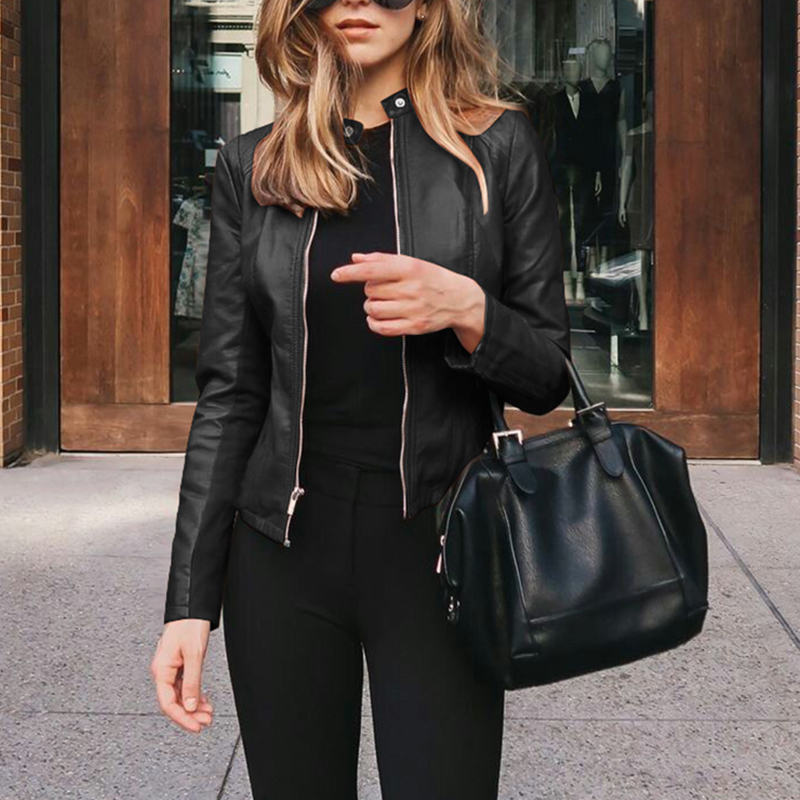 Women Autumn Winter Solid Slim Zipper Long Sleeve PU Leather Jacket Coat Ladies Casual Punk Motorcycle Biker's Outwear SJ5191M