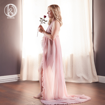 Don&Judy Sexy V-neck Maternity Shoot Dresses Split Front Pregnancy Photography Dress Chiffon Pregnant Women Maxi Gown Photo Prop clearance chiffon gown maternity dress for photo shoot split front maternity photography prop maternity dress without shorts