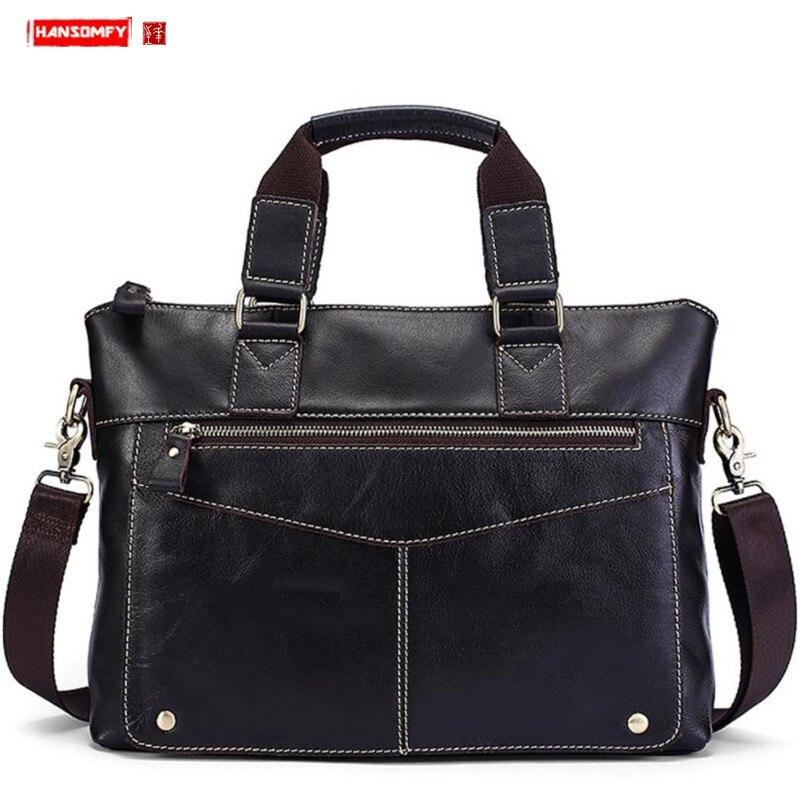 2019 Retro Genuine Leather Business Men's Handbag Oil Leather Casual Shoulder Messenger Bag Men's Briefcase Laptop Travel Bags