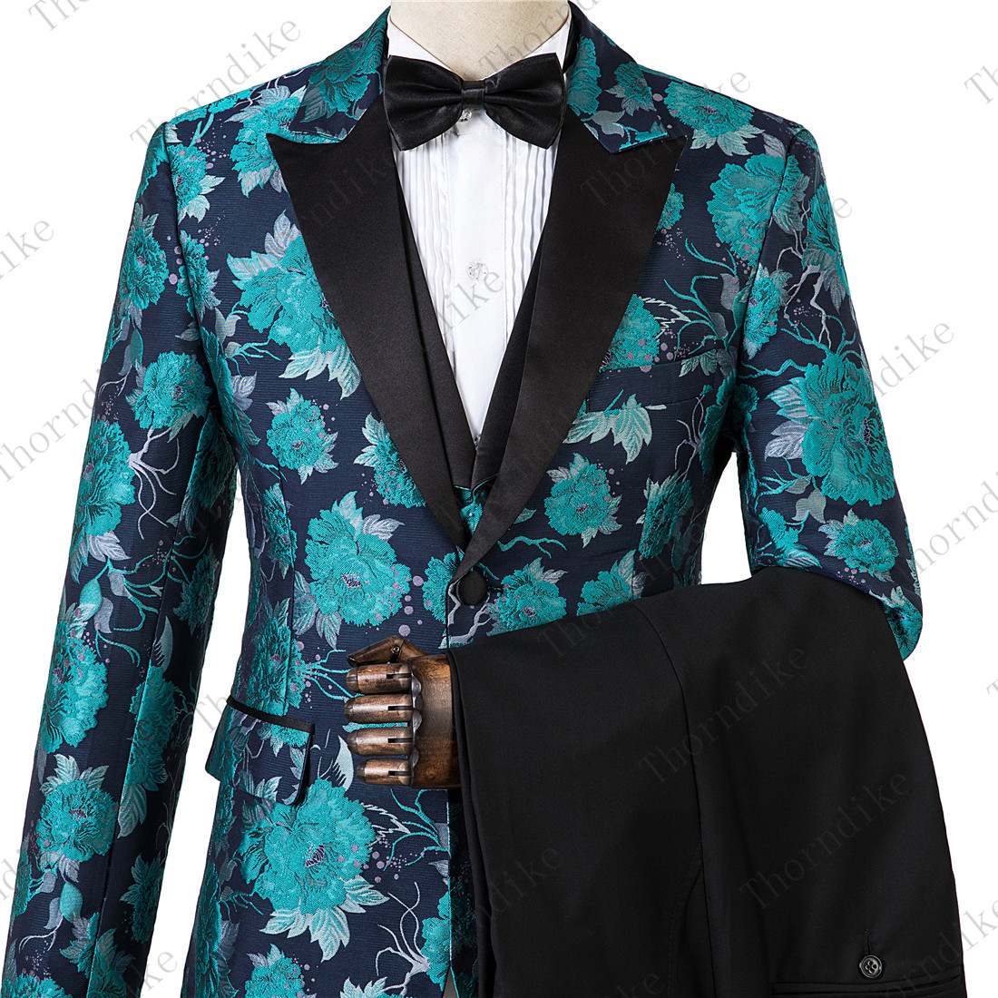 Male Suits Slim-Fit Tuxedo Costume-Set Flowers Printed Blue Fashion Wedding-3piece XS-5XL
