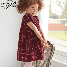 ZAFILLE Red Plaid Girls Dress Cotton Baby Girl Clothes Children A-Line Dress Toddler Summer Dress Casual Kids Clothes 2020 New new christmas fall winter baby girls cotton outfits red grey snowman ruffle dress children clothes boutique match accessory bow