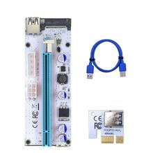 بطاقة الناهض 008s VER008S 3 في 1 موليكس 4Pin SATA 6PIN PCIE PCI E PCI Express محول 1X 16X USB3.0 موسع التعدين التعدين