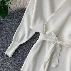 Image 5 - YornMona elegancki rękaw w kształcie skrzydła nietoperza V Neck z dzianiny biała sukienka 2019 jesienno zimowa w stylu Vintage kobiety sukienka Sash Ladies sukienka biurowa