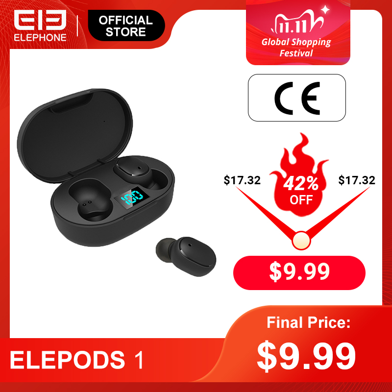 ELEPHONE ELEPODS 1 TWS Earphone LED Display Wireless Bluetooth Earphone Voice control Bluetooth 5.0 Noise Reduction Tap Control 1