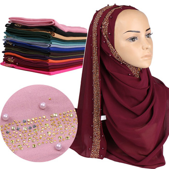 2020 Hot Sale Scarf Ladies Pearl Chiffon Headscarf Monochrome Inlaid Jewelry Ethnic Muslim Female Hijab Shawl