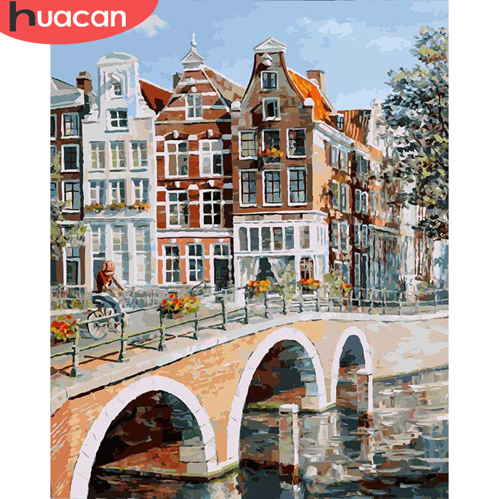HUACAN Pictures By Number City Landscape HandPainted Kits Drawing Canvas Coloring Oil Painting Bridge Home Decoration