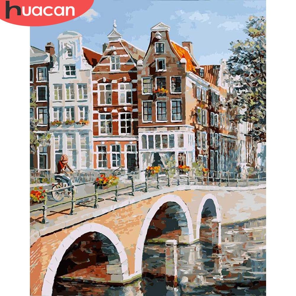 Картины HUACAN по номерам, городской пейзаж, наборы для ручной росписи, раскраска на холсте, картина маслом, мост, украшение для дома