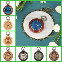 Red Wooden Quartz Pocket Watch Bronze Hook Pocket Chain+Necklace Chain Full Wood Pendant Clock Blue Round Dial Relogio De Bolso