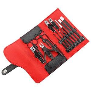 Image 5 - Qmake 15pcs Stainless Steel Pedicure Professional Nail Clipper Set Cuticle Eagle Hook Tweezer Manicure Beauty Tools Kit PU Bag