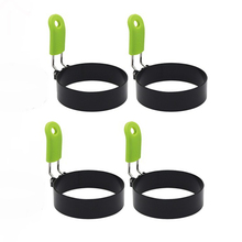 4 Pcs Round Egg Rings, Nonstick Stainless Steel Egg Ring with Anti-Scald Handle for Muffins Pancake Cooking