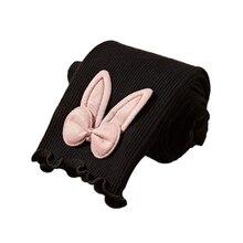 Обтягивающие штаны для маленьких девочек, 1 предмет, эластичные теплые леггинсы с принтом в виде кроличьих ушек