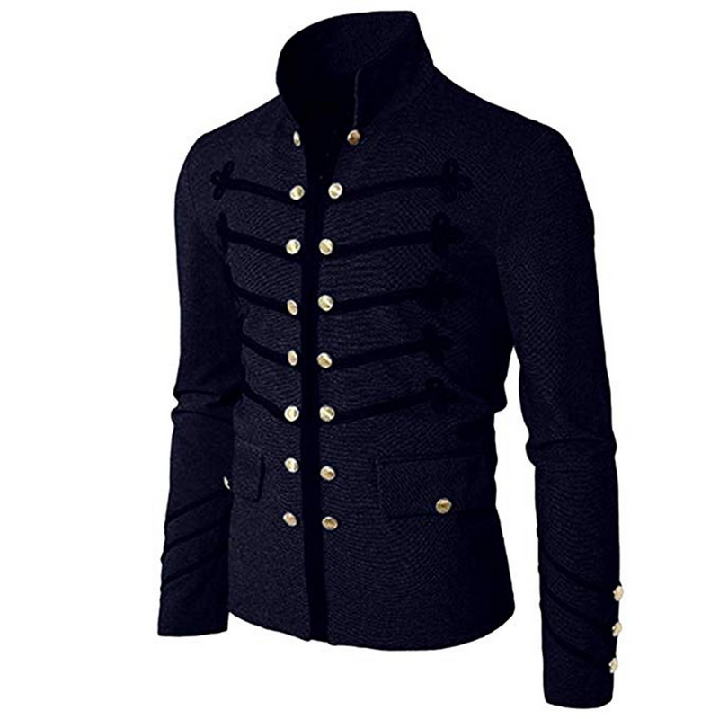 Men Gothic Jacket Uniform Steampunk-Tunic Military-Coat Frock Vintage Male Solid Outwear title=