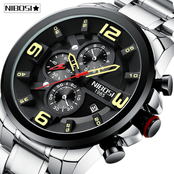 NIBOSI Fashion Men Watches Top Brand Luxury Sport Quartz Men Watch Full Steel Waterproof Business Male Clock Relogio Masculino relogio masculino lige mens watches top brand luxury fashion business quartz watch men sport full steel waterproof black clock