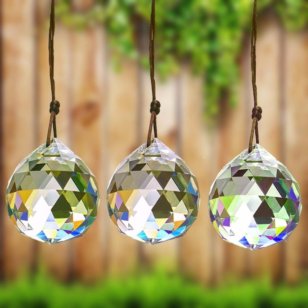 20-100mm Glass Suncatcher Prism Ball Hanging Crystal Faceted Chandelier Window Wedding Car DIY Lamp Ornament Rainbow Maker