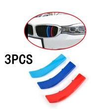3pcs Car Front Grille Trim Strips Cover Motorsport Sticker For BMW 3 5 Series X3 X4 X5 X6 X1 3-Colors Strip
